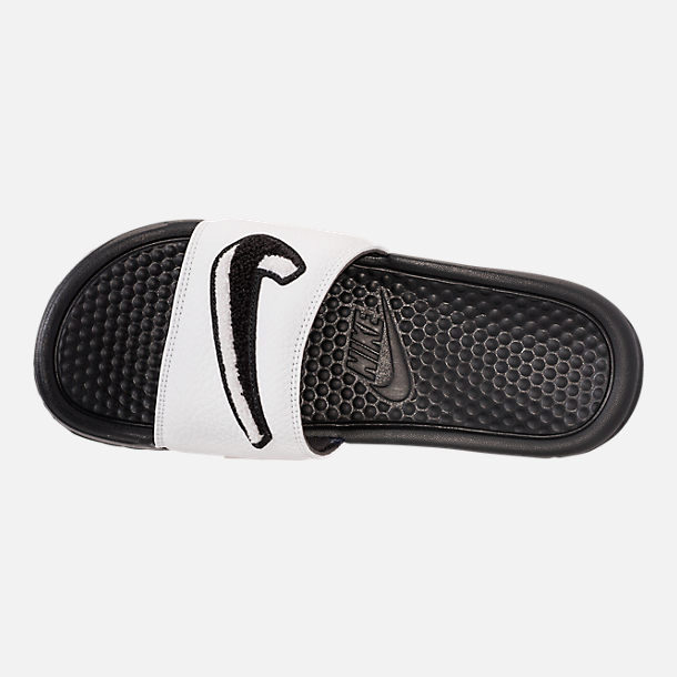 Top view of Men's Nike Benassi JDI Chenille Slide Sandals in Black/Summit White