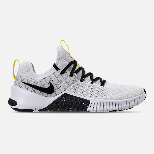 Right view of Men's Nike Metcon Free X Training Shoes in White/Black/Dynamic Yellow