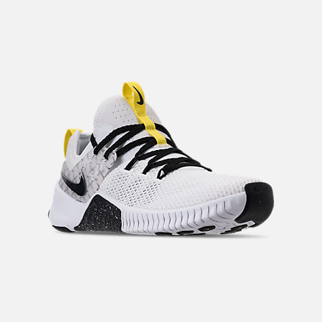 Three Quarter view of Men's Nike Metcon Free X Training Shoes in White/Black/Dynamic Yellow