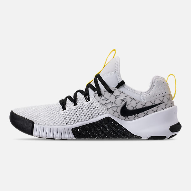 Left view of Men's Nike Metcon Free X Training Shoes in White/Black/Dynamic Yellow