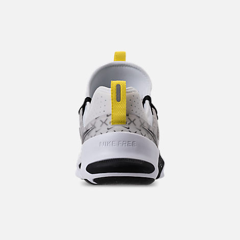 Back view of Men's Nike Metcon Free X Training Shoes in White/Black/Dynamic Yellow