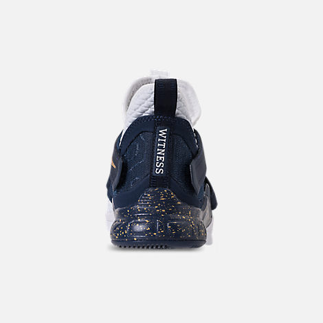 Back view of Boys' Grade School Nike LeBron Soldier 12 SFG Basketball Shoes in White/White/Midnight Navy/Mineral Yellow