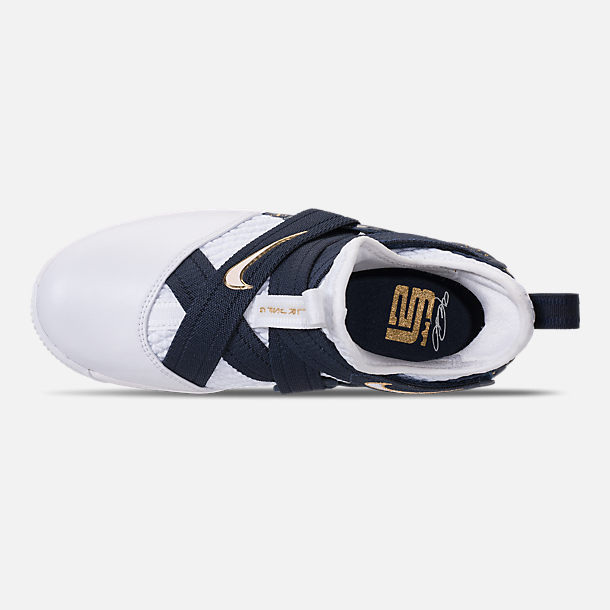 Top view of Boys' Grade School Nike LeBron Soldier 12 SFG Basketball Shoes in White/White/Midnight Navy/Mineral Yellow