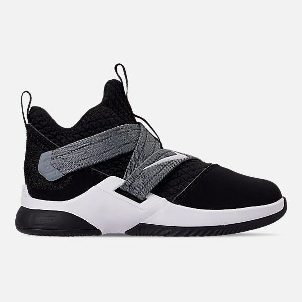 Right view of Boys' Little Kids' Nike LeBron Soldier 12 SFG Basketball Shoes in Black/White - Raid