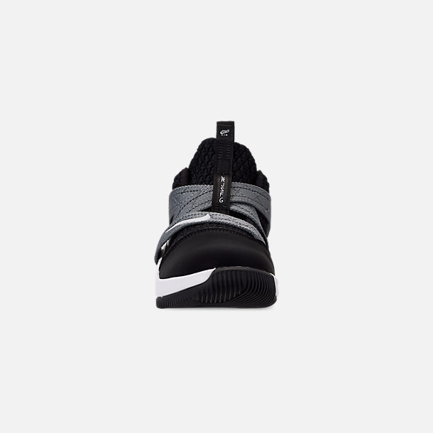 Front view of Boys' Little Kids' Nike LeBron Soldier 12 SFG Basketball Shoes in Black/White - Raid