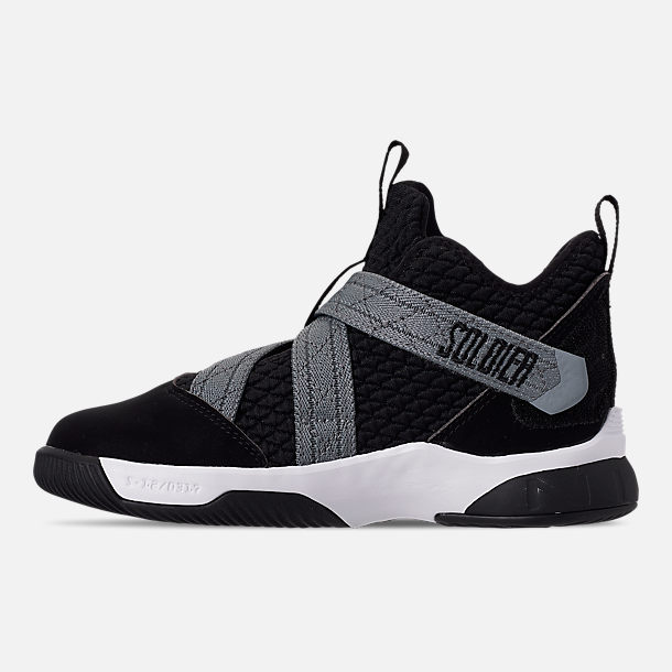 Left view of Boys' Little Kids' Nike LeBron Soldier 12 SFG Basketball Shoes in Black/White - Raid