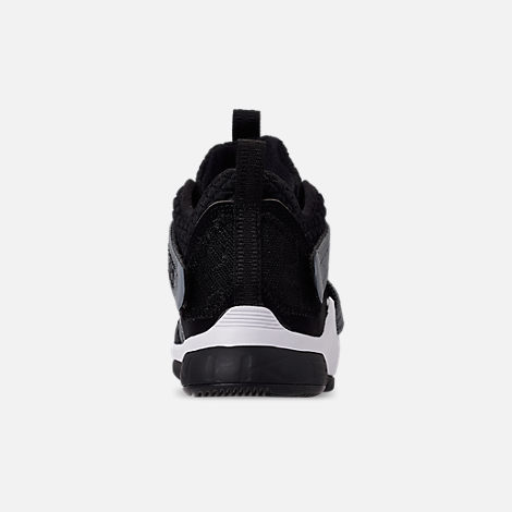 Back view of Boys' Little Kids' Nike LeBron Soldier 12 SFG Basketball Shoes in Black/White - Raid