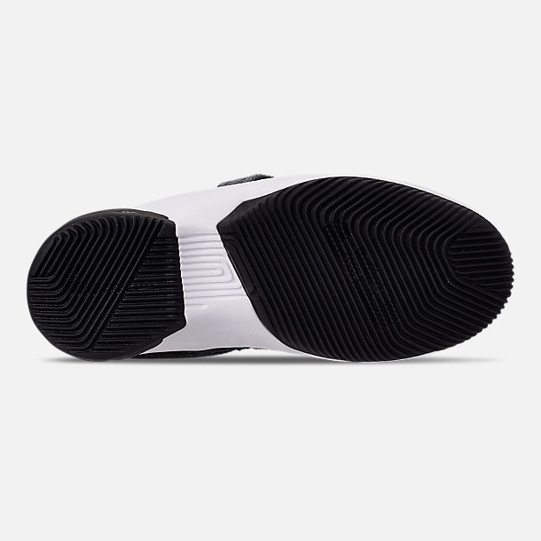 Bottom view of Boys' Little Kids' Nike LeBron Soldier 12 SFG Basketball Shoes in Black/White - Raid