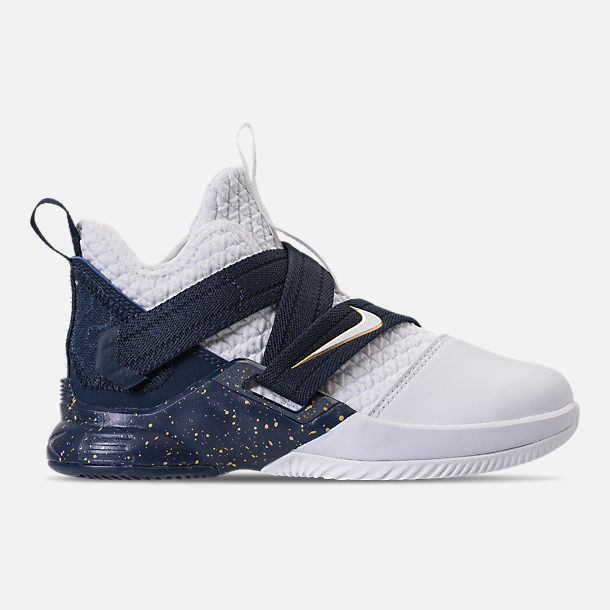Right view of Boys' Preschool Nike LeBron Soldier 12 SFG Basketball Shoes in Midnight Navy/White/Mineral Yellow