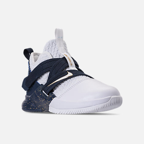 Three Quarter view of Boys' Preschool Nike LeBron Soldier 12 SFG Basketball Shoes in Midnight Navy/White/Mineral Yellow