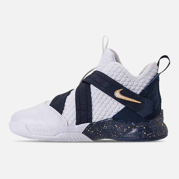 Left view of Boys' Preschool Nike LeBron Soldier 12 SFG Basketball Shoes in Midnight Navy/White/Mineral Yellow
