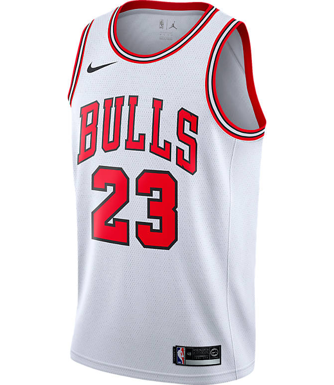 Back view of Men's Nike Chicago Bulls NBA Michael Jordan Association Edition Connected Jersey in White