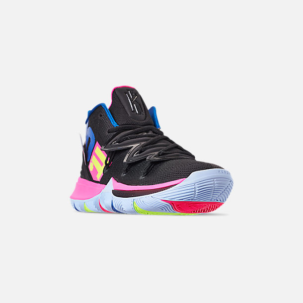 Three Quarter view of Men's Nike Kyrie 5 Basketball Shoes in Black/Volt/Hyper Pink
