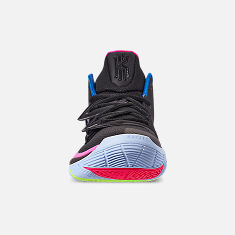 Front view of Men's Nike Kyrie 5 Basketball Shoes in Black/Volt/Hyper Pink