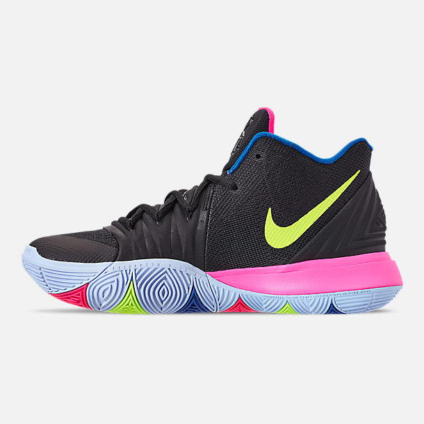 Left view of Men's Nike Kyrie 5 Basketball Shoes in Black/Volt/Hyper Pink