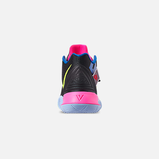 Back view of Men's Nike Kyrie 5 Basketball Shoes in Black/Volt/Hyper Pink