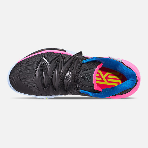 Top view of Men's Nike Kyrie 5 Basketball Shoes in Black/Volt/Hyper Pink