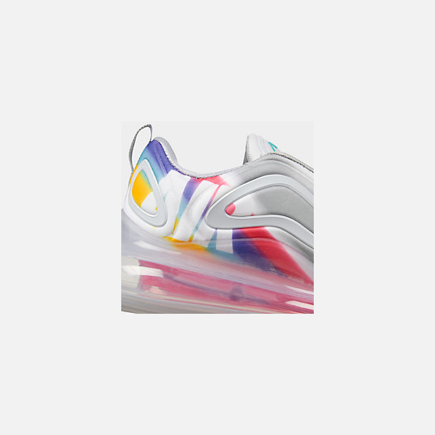 Front view of Men's Nike Air Max 720 Running Shoes in Wolf Grey/Teal Nebula/Red Orbit/White