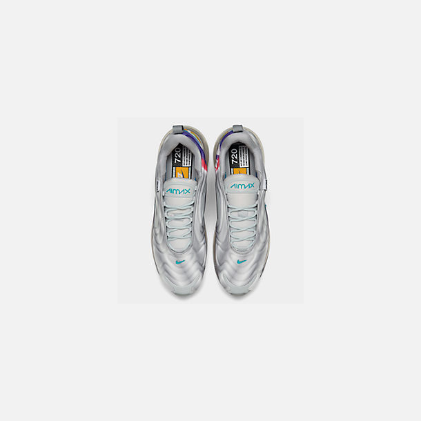 Back view of Men's Nike Air Max 720 Running Shoes in Wolf Grey/Teal Nebula/Red Orbit/White