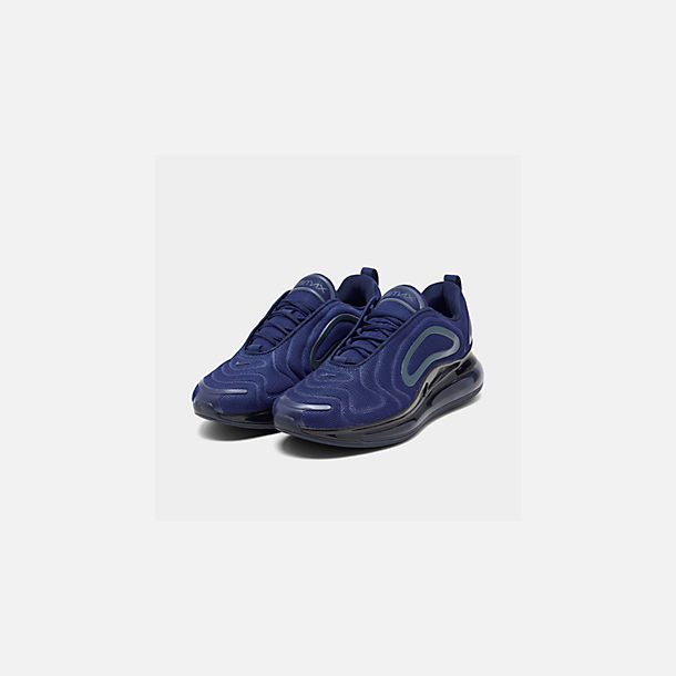 Three Quarter view of Men's Nike Air Max 720 Running Shoes in Deep Royal Blue/Blue Void/Chalk Blue