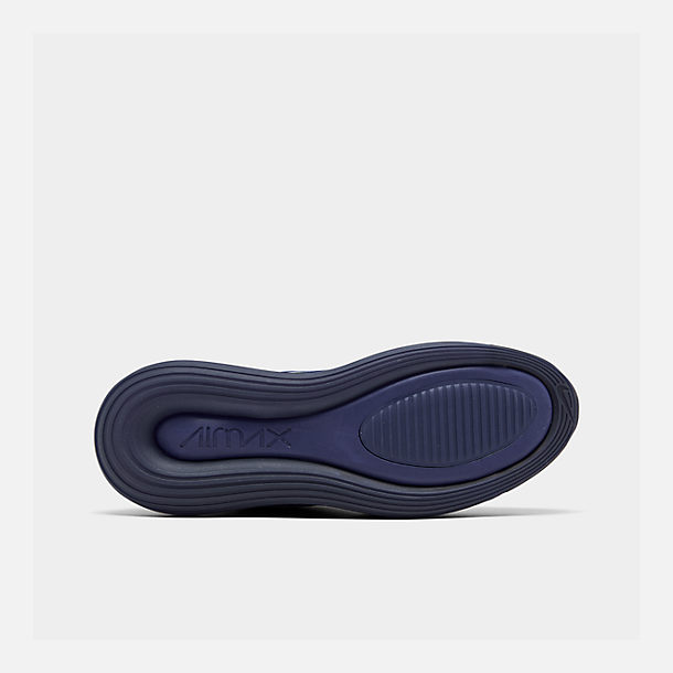 Bottom view of Men's Nike Air Max 720 Running Shoes in Deep Royal Blue/Blue Void/Chalk Blue