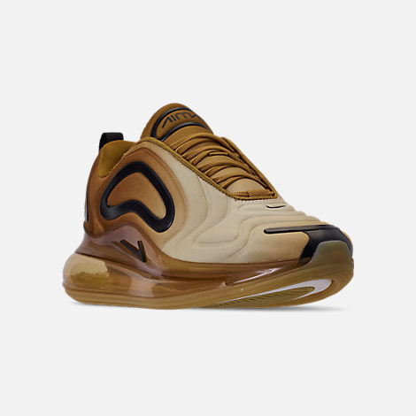 Three Quarter view of Men's Nike Air Max 720 Running Shoes in Wheat/Black/Club Gold