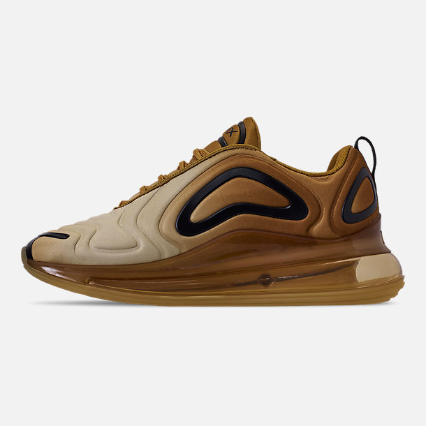 Left view of Men's Nike Air Max 720 Running Shoes in Wheat/Black/Club Gold