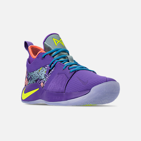 Three Quarter view of Men's Nike PG 2 Basketball Shoes in Cannon/Volt/Purple