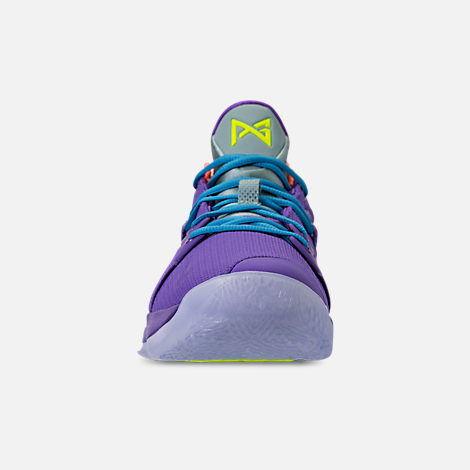 Front view of Men's Nike PG 2 Basketball Shoes in Cannon/Volt/Purple Venom
