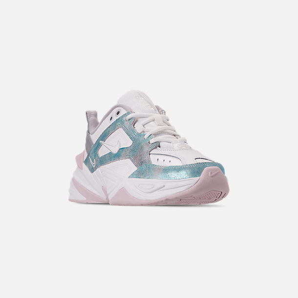 Three Quarter view of Women's Nike M2K Tekno Casual Shoes in Summit White/Icey Blue/Barely Rose