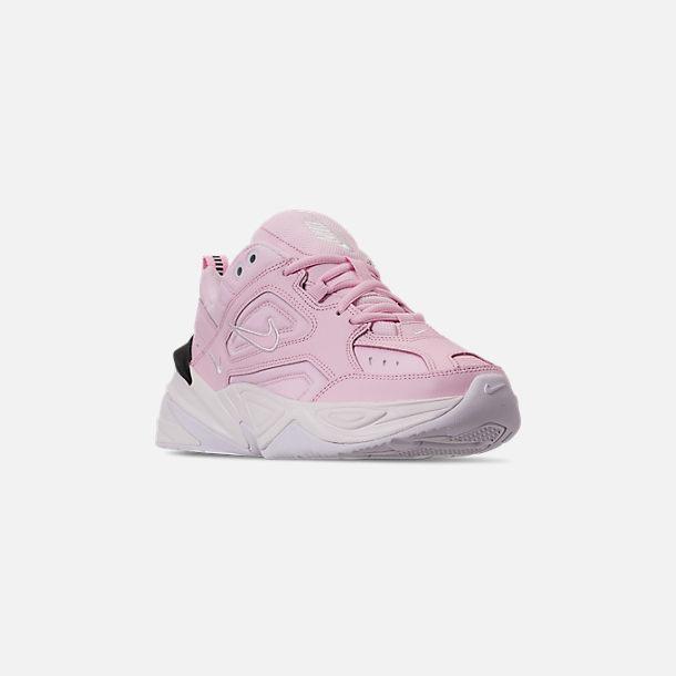 52ea6c2c180 Three Quarter view of Women s Nike M2K Tekno Casual Shoes in Pink Foam Black  Phantom