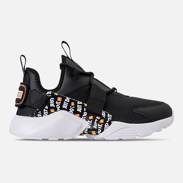 Right view of Women's Nike Air Huarache City Low Premium Casual Shoes in Black/Black/White/Total Orange