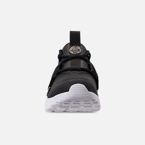 Front view of Women's Nike Air Huarache City Low Premium Casual Shoes in Black/Black/White/Total Orange