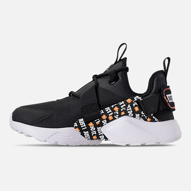 Left view of Women's Nike Air Huarache City Low Premium Casual Shoes in Black/Black/White/Total Orange