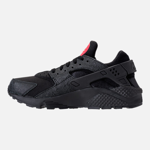 Left view of Men's Nike Air Huarache Run Floral Casual Shoes in Black/University Red