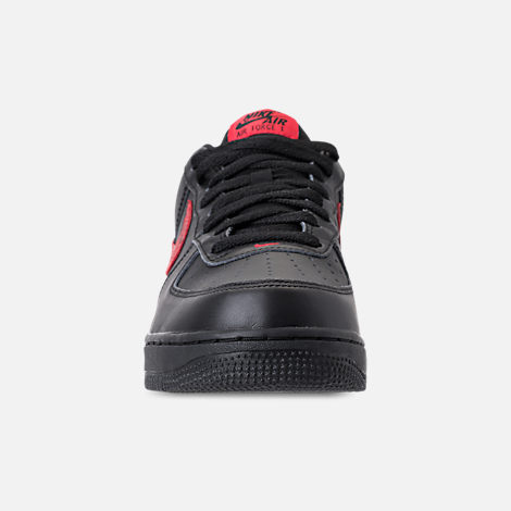 Front view of Men's Nike Air Force 1 '07 Floral Casual Shoes in Black/University Red