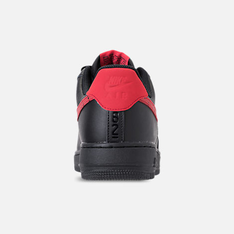 Back view of Men's Nike Air Force 1 '07 Floral Casual Shoes in Black/University Red