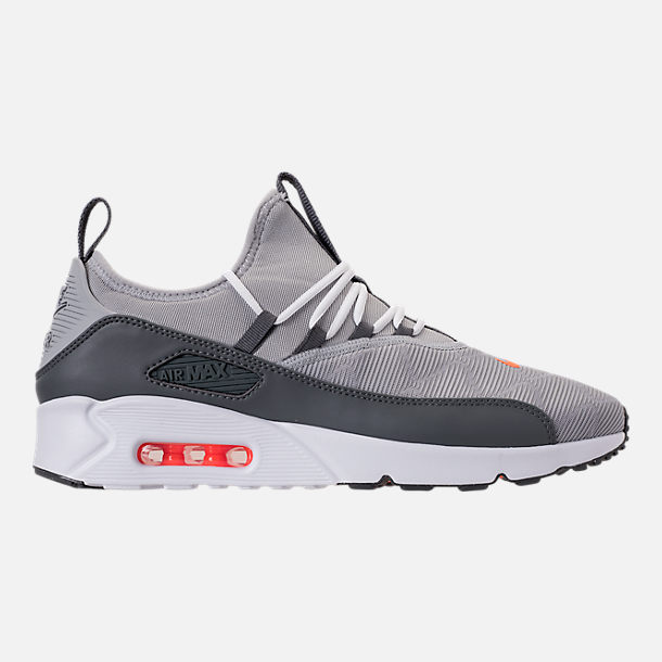 Right view of Men's Nike Air Max 90 EZ SE Casual Shoes in Wolf Grey/Dark Grey/Total Orange