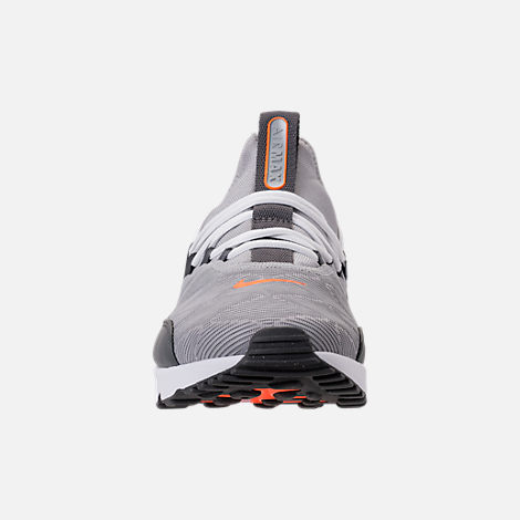 Front view of Men's Nike Air Max 90 EZ SE Casual Shoes in Wolf Grey/Dark Grey/Total Orange