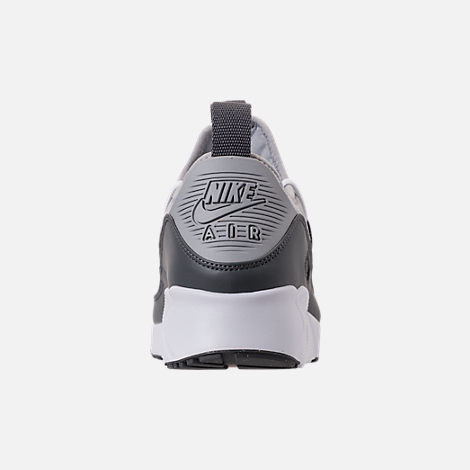 Back view of Men's Nike Air Max 90 EZ SE Casual Shoes in Wolf Grey/Dark Grey/Total Orange