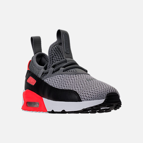 Three Quarter view of Boys' Preschool Nike Air Max 90 Ultra 2.0 Ease Casual Shoes in Wolf Grey/Cool Grey/Black/Bright Crimson