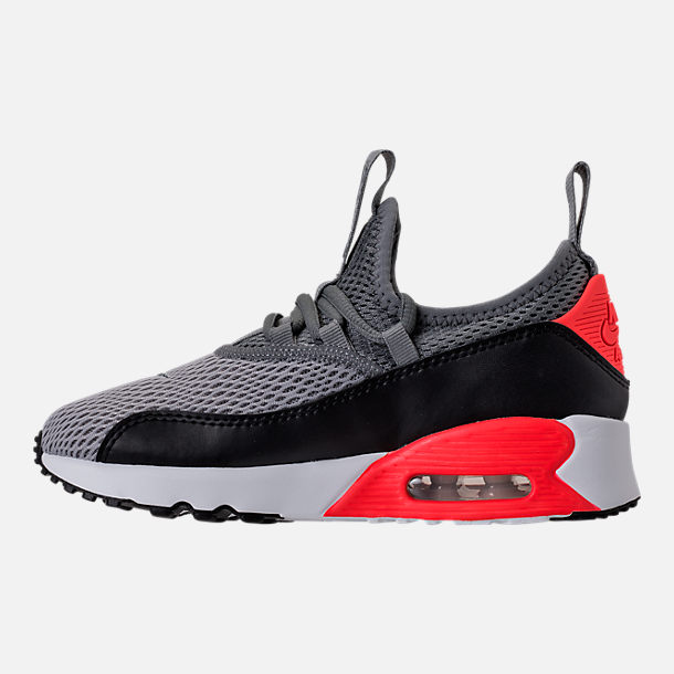 Left view of Boys' Preschool Nike Air Max 90 Ultra 2.0 Ease Casual Shoes in Wolf Grey/Cool Grey/Black/Bright Crimson