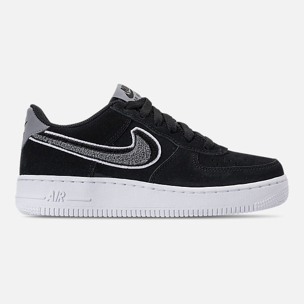 Right view of Boys' Grade School Nike Air Force 1 LV8 Casual Shoes in Black/White/Cool Grey