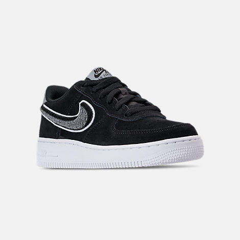 Three Quarter view of Boys' Big Kids' Nike Air Force 1 LV8 Casual Shoes in Black/White/Cool Grey