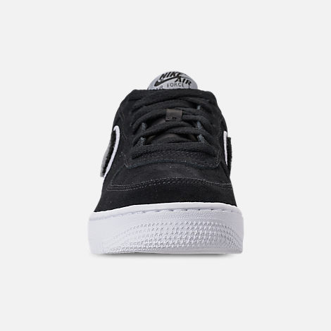 Front view of Boys' Grade School Nike Air Force 1 LV8 Casual Shoes in Black/White/Cool Grey