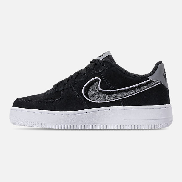 Left view of Boys' Big Kids' Nike Air Force 1 LV8 Casual Shoes in Black/White/Cool Grey