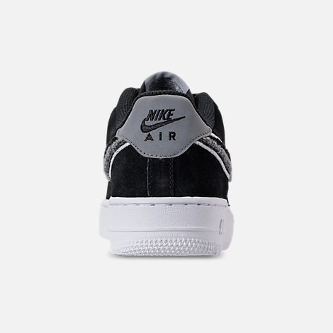 Back view of Boys' Big Kids' Nike Air Force 1 LV8 Casual Shoes in Black/White/Cool Grey
