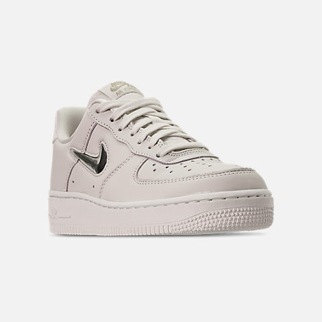 Three Quarter view of Women's Nike Air Force 1 '07 Premium LX Casual Shoes in Phantom/Metallic Gold Star/Summit White