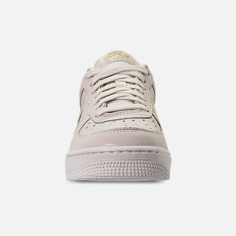 Front view of Women's Nike Air Force 1 '07 Premium LX Casual Shoes in Phantom/Metallic Gold Star/Summit White