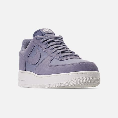 Three Quarter view of Men's Nike Air Force 1 '07 Suede Casual Shoes in Ashen Slate/Sail